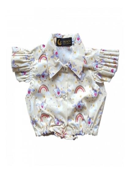 Mini Blusa Infantil Tipo Camisa Mais Brinde