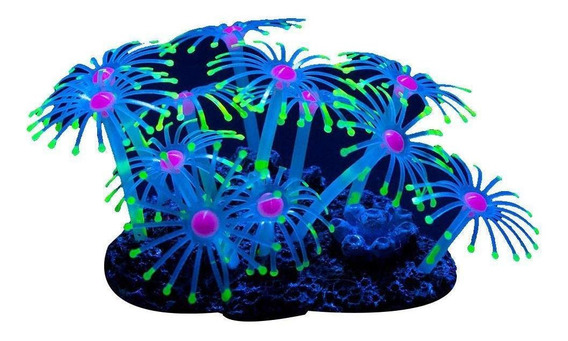Planta Artificial Brilhante Coral Peixe Tanque Ornamento De