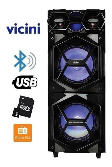 Caixa De Som 7700 Vicini 1200w Rms Bluetooth Usb Com Led