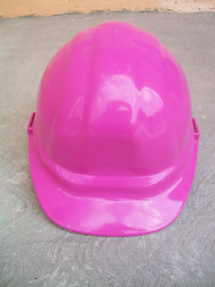 Casco Rosa Seguridad Obra Ingeniera Proteccion