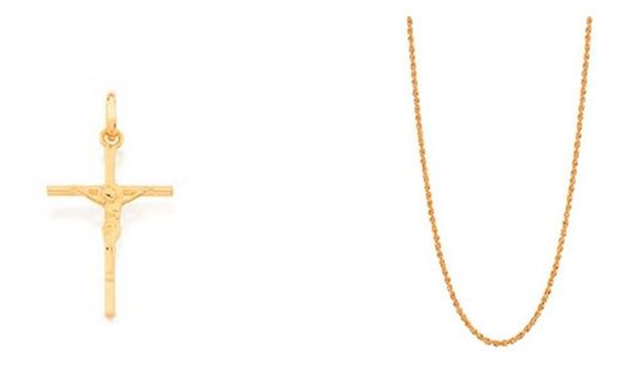 Cordão Masculino Rommanel 70cm + Crucifixo 531877 540027
