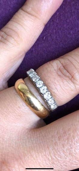 Aliança De Ouro Branco 6 Diamantes