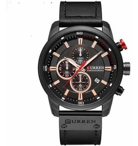 Relógio Social De Luxo Pulseira De Couro Original 8291