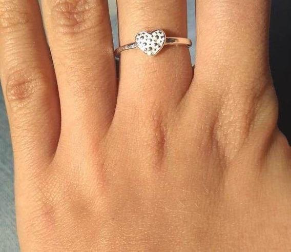 Anel Prata 925 Diamantado Coraçãozinho
