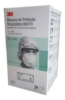20 Máscaras 3m Concha 8801h Pff2 N95 Respirador Sem Válvula