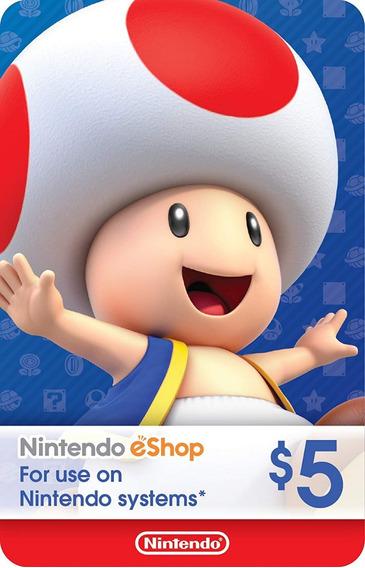Cartão Nintendo Switch 3ds Wii U Eshop Card Usa $5 Dólares