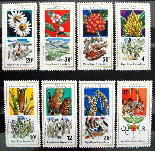 Rwanda, Serie Sc. 632-39 Frutos Flora 1974 Mint L5984
