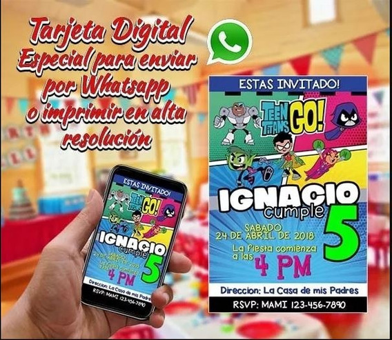 Tarjeta Digital De Cumpleaños Personalizada Jovenes Titanes