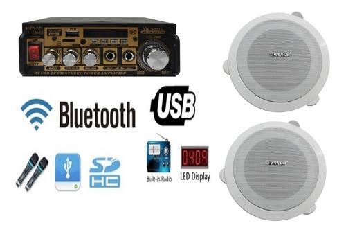 Kit Sonido Musica Ambiental Amplificador + 2 Parlantes Techo