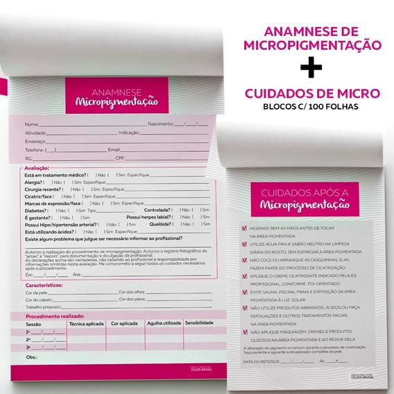 Ficha Anamnese Micropigmentação + Bloco Cuidados Cliente