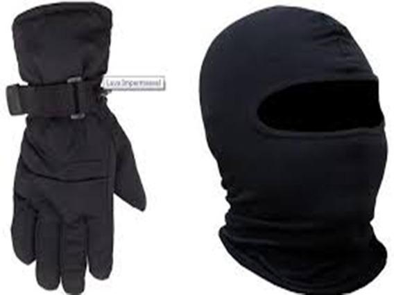Luva Impermeável + Touca Motociclista Proteção Frio Chuva