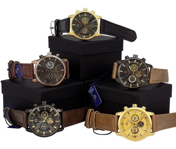 Kit 5 Relógios Masculino Dourado Original Promoção + Caixa
