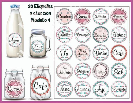 Etiquetas Para Condimentos, Botellas Y Frascos Y Latas 20u