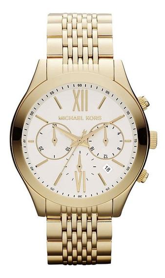 Relógio Luxo Mk5762 Lexington Orig Chron Anal Ouro!!!