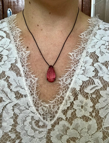 Colar Gota Rosa Claro Pedra Fusion Banhado A Rodio Negro