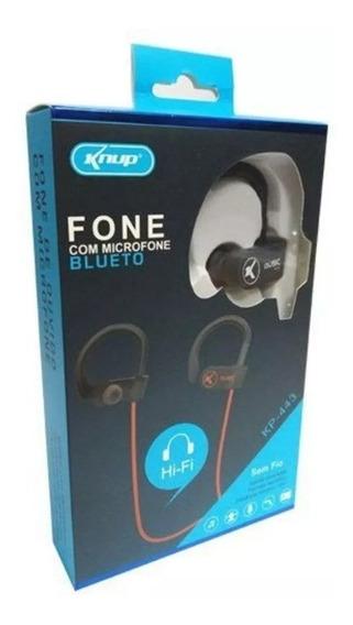 Fone Ouvido Bluetooth C/ Microfone Knup Kp-443 Preto