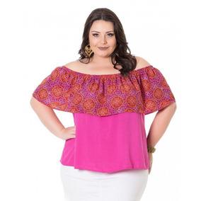 68b7846a68 Blusa Ciganinha Rosa Em Viscose Peach Miss Masy Plus Size