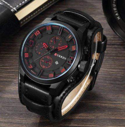 Relógio Curren 8225 Social Luxo Esportivo Top Couro Preto