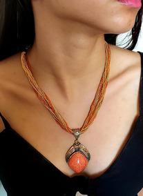 Colar Feminino Indiano Vermelho Grená Com Pedra