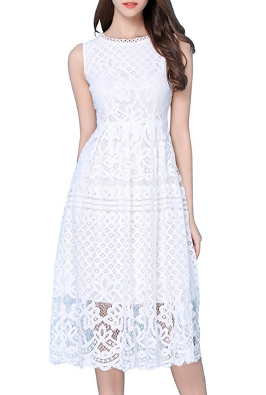Vestido Blanco Ropa Mujer Encaje Talla M