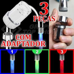 Kit 3 Bico Led Torneira Luz Cores Azul Verde Vermelha + Adap