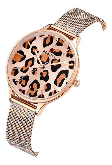 Moda Womens Relógio De Quartzo Impermeável Leopardo Print Go