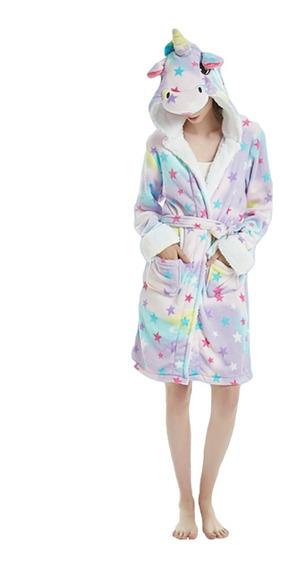 Unicornio Estrellas Bata Suave Cómoda Pijama Dormir Adulto