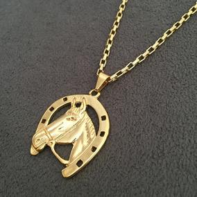 Cordão Veneziana 3mm + Pingente Ferradura Banhado A Ouro 18k