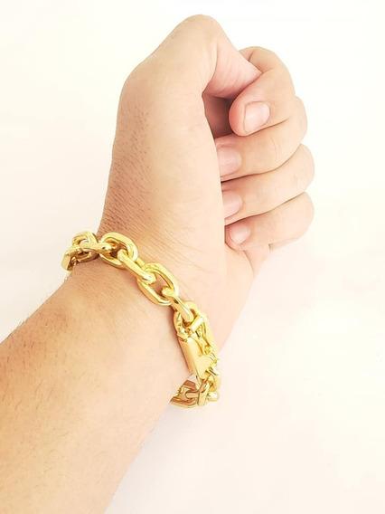 Pulseira 12mm Cadeado Banhado A Ouro Luxo Masculino