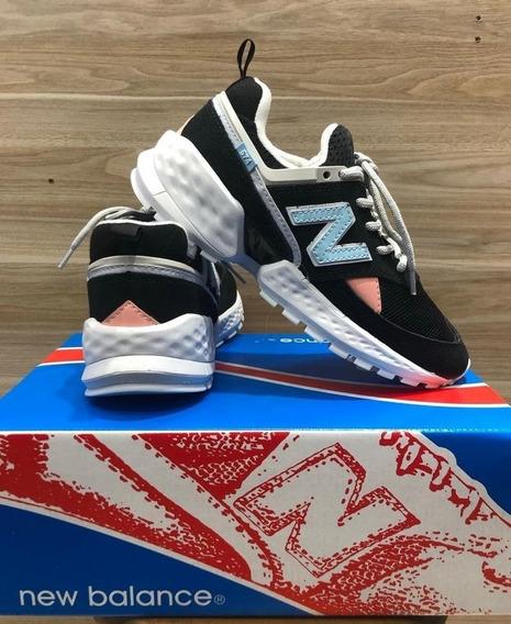 Tênis New Balance 574 Casual Feminino Preto/azul