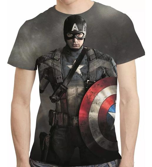 Camisa Filme Camiseta Capitão America - Estampa Total Mod.02