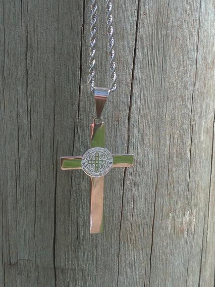 Colar Crucifixo De São Bento Aço Inox
