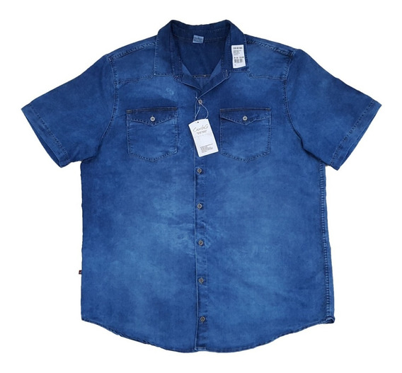 Camisa Jeans Masculina Plus Size Manga Curta