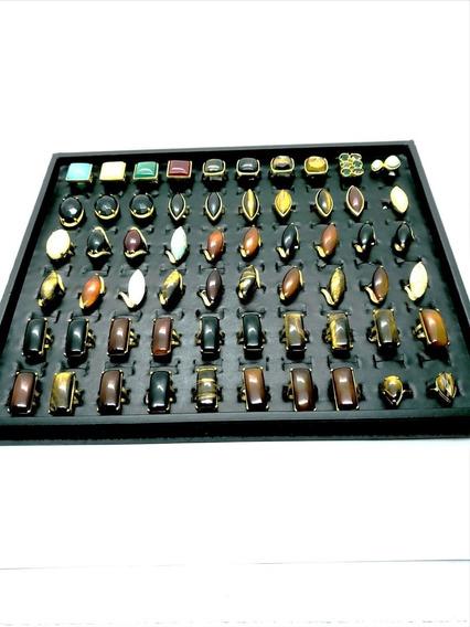 Kit 50 Anéis Pedra Natural Banhado Ouro Atacado Revenda 4704