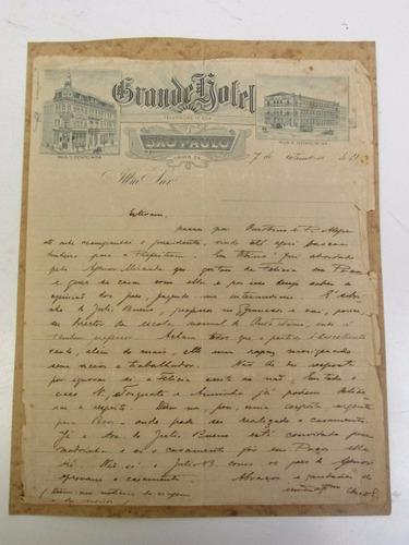 Antiga Carta Manuscrita - Papel Do Grande Hotel São Paulo