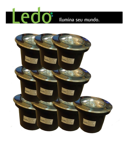 Kit 10 Balizador De Chão 12w Luz Amarela - Ledo