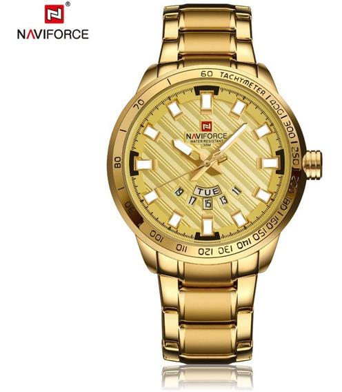 Relógio Masculino Dourado Banhado Em Ouro 18k Luxo + Caixa