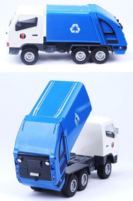 Miniatura Caminhão Coleta De Lixo Em Metal Hy Truck 1/60
