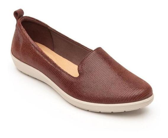 Zapato Dama Mujer Flexi Piel Cafe Flat Casual