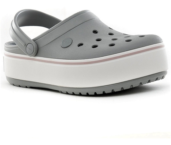 Sandalia Crocs Crocband Platform Mujer Original Gris