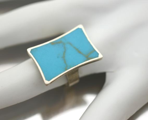 Anel Quadrado Prata 925 Com Turquesa Reese Natural J4971
