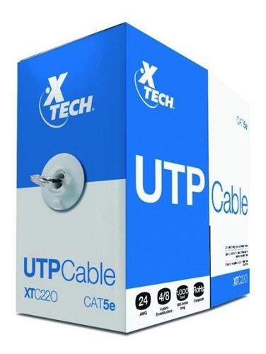 Rollo De Cable Utp Xtech, Cat-5e, 1000 Pies, Gris. (xtc-220)