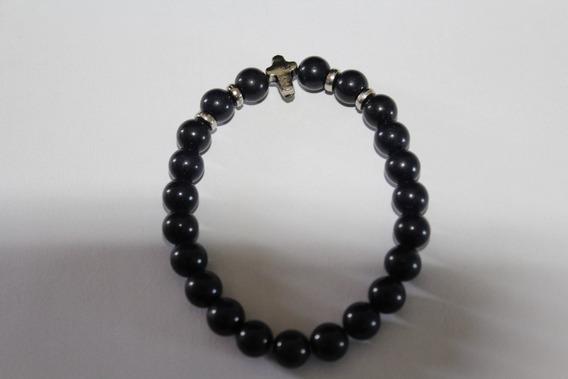 Pulseira Masculina De Obsidiana Negra ( Bolinha )