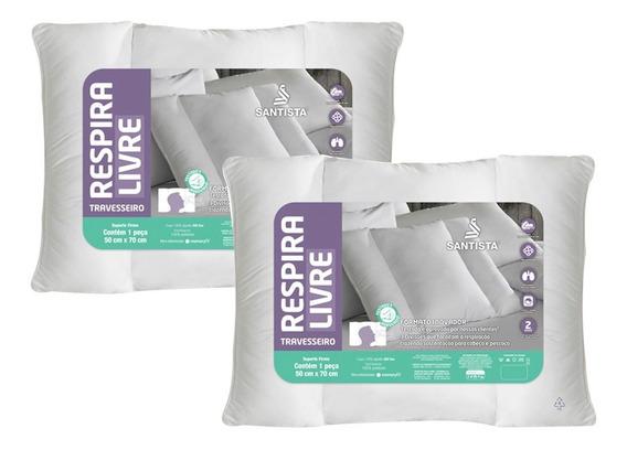 Kit Travesseiros Suporte Firme Respira Livre 2 Peças Unico