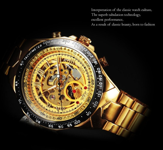 Relógio Masculino Winner Dourado, Esqueleto. Automático