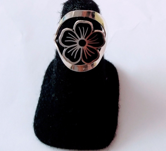 Anillo Ajustable Flor Negra Plata .925 #5