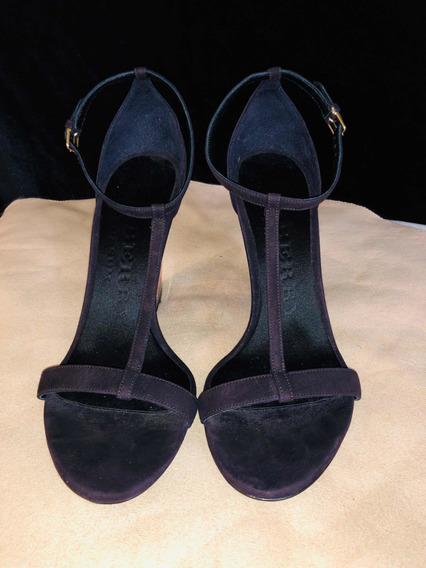 Zapatos De Cuña Burberry 37eur 31/2mex Ante Morado Nuevos