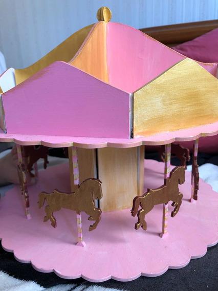Carrusel De Fibrofacil Pintado Rosa Y Dorado Candy Bar