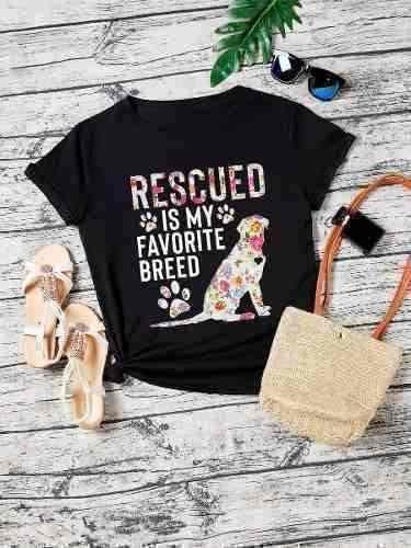 Playera 3d Sublimada Full Print Mujer Perro Rescatado