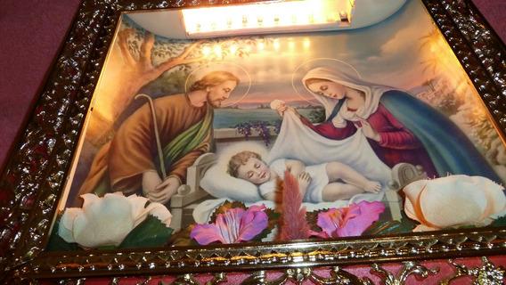 Icono De Pared Iluminado Navidad Familia Sagrada Oferta!!!